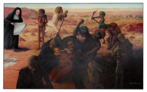 Tribal Abduction by Harold Joseph Thomas (Bundoo), winnder of the Telstra Art Award 2016